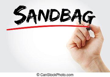 markier, sandbag, wręczać pisanie