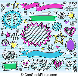 markierung, doodles, schule, satz, zurück