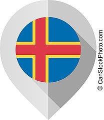 markierung, mit, fahne, für, landkarte
