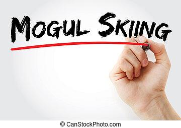 markierung, mogul fahrend ski, hand schreiben