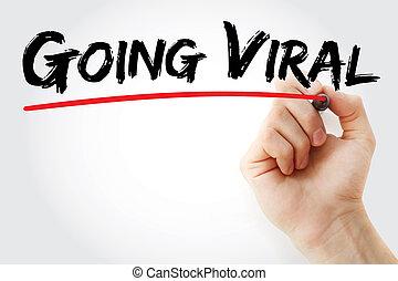 markierung, virus, gehen, hand schreiben