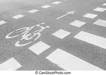 Marking bicycle paths and pedestrian crossing