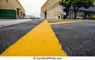 Marking on the pavement in the cargo terminal where all-cargo aircrafts usually park, Rio de Janeiro, Brazil