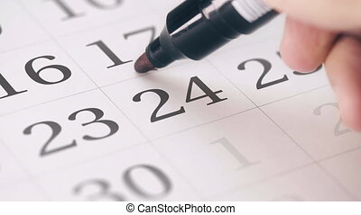 Marking the twenty-fourth 24 day of a month in the calendar...