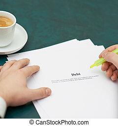 Marking words in a debt definition
