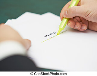Marking words in a strategy definition