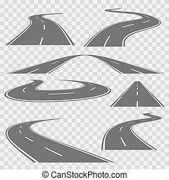 markings., jogo, enrolamento, vetorial, rodovia, curvado, ou, estrada