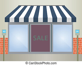 markise, blaues, storefront