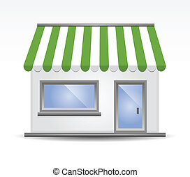 markise, grün, storefront