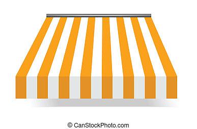 markise, storefront, gelber