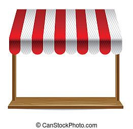 markise, vindue, stribet, butik