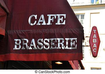 markise, von, a, pariser, café