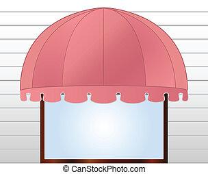 markiza, różowy, storefront, czerwonawy