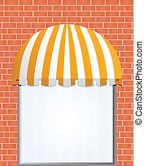 markiza, storefront, żółty