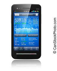 marknaden, block, ansökan, smartphone