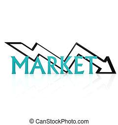 marknaden, pil ner