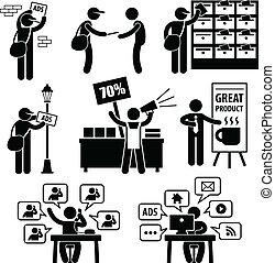 marknadsföra, annons, strategi