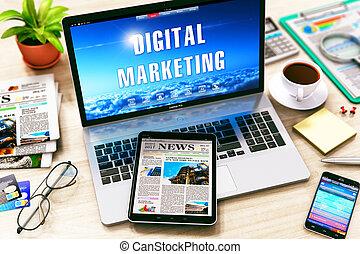 marknadsföra, begrepp, digital