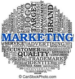marknadsföra, begrepp, ord, moln, etikett