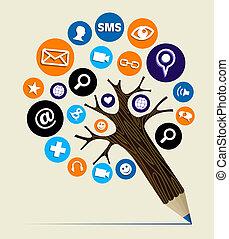 marknadsföra, begrepp, träd, nät, blyertspenna