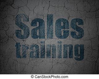 marknadsföra, concept:, försäljningarna, utbildning, på, grunge, vägg, bakgrund