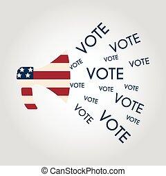 marknadsföra, concept., val, oss, communication:, rösta, politik, megafon