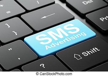 marknadsföra, sms, dator, annonsering, bakgrund, tangentbord, concept: