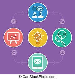 marknadsföra, vektor, internet, strategi