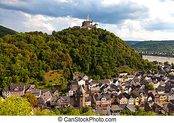 Marksburg Castle, Germany - Panorama of Braubach on the...