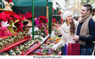 markt, aankoop, bloem, kerstmis, paar
