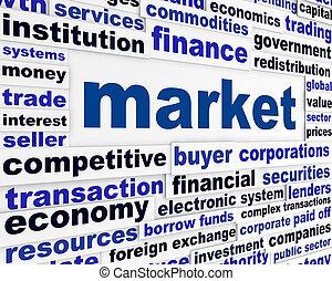 markt, creatief, woorden, concept