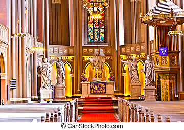 markt, famoso, dentro, gótico, kirche