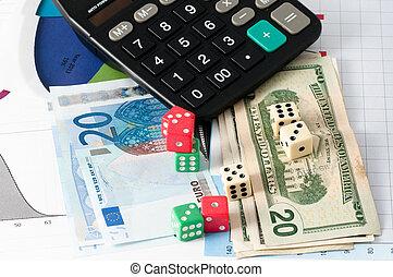 markt, gokken, liggen