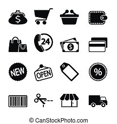 markt, iconen, set