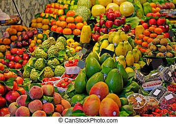 markt, la, boqueria, barcelona, fokus., berühmt, wahlweise, welt, spain., fruits.