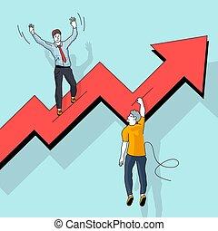 markt, verlierer, bestand, gewinner
