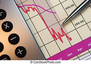 markten, gaan, dons, financiële grafiek