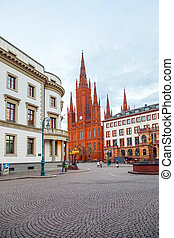 Marktkirche in Wiesbaden with Hesse parliament, Germany in...