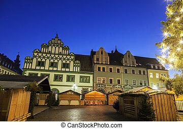 Marktplatz in the morning. Weimar, Thuringia, Germany