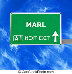 MARL road sign against clear blue sky