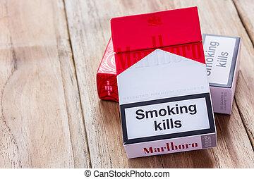 marlboro, de madera, cigarrillos, tabla, paquete