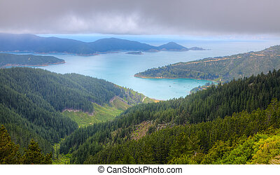 Scenic bird's eye view of Oyster Bay near Picton in New Zealand's South Island