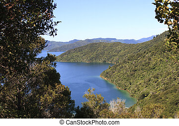 Marlborough Sounds with walking track in New Zealand
