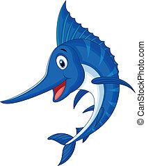 marlin, caricatura, pez