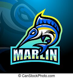 marlin, esport, mascotte, logotipo, disegno