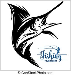Marlin fish - vector stock illustration isolated on white