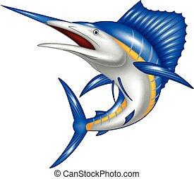 marlin, ilustración, caricatura, pez