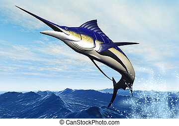 MARLIN jUMP - A sleek blue marlin bursts from the ocean...