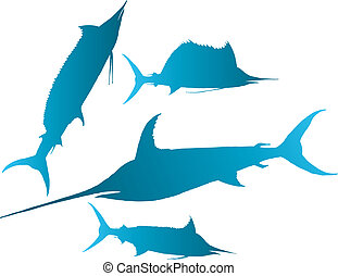 marlin, sailfish vector - Vector illustration silhouettes of...