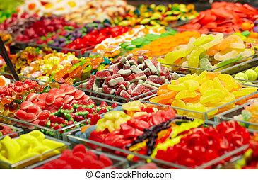 Marmalade candies store at the La Boqueria market in...